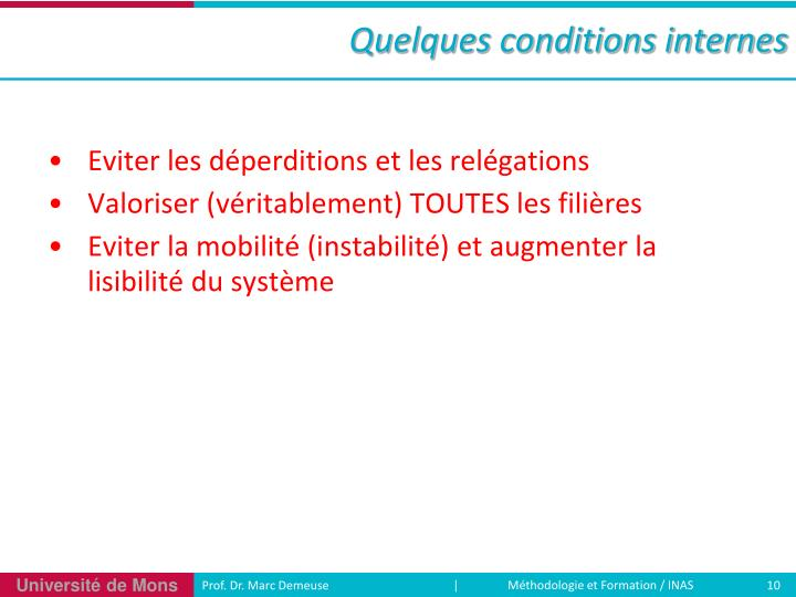 Quelques conditions internes