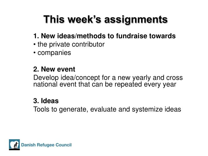This week's assignments