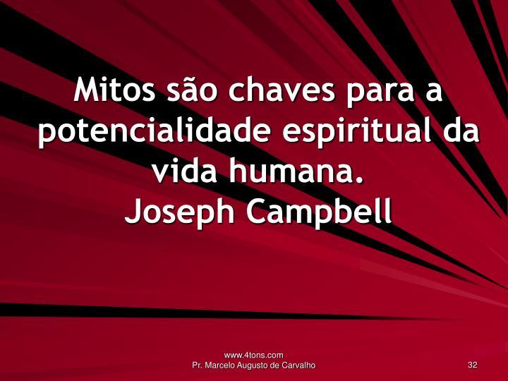 Mitos são chaves para a potencialidade espiritual da vida humana.