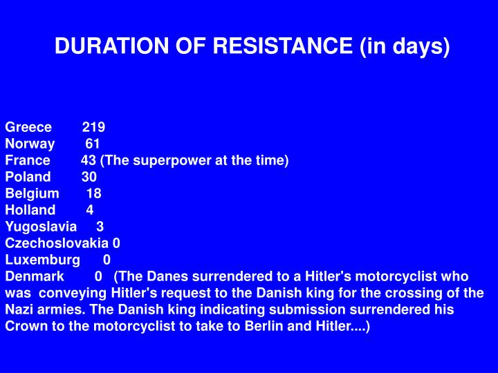 DURATION OF RESISTANCE (in days)