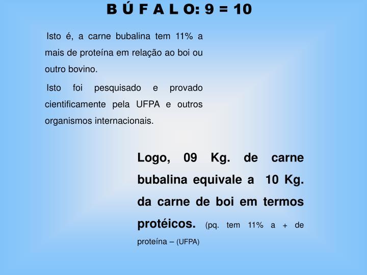 B Ú F A L O: 9 = 10