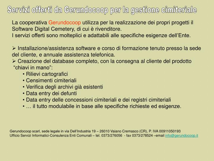 Servizi offerti da Gerundocoop per la gestione cimiteriale