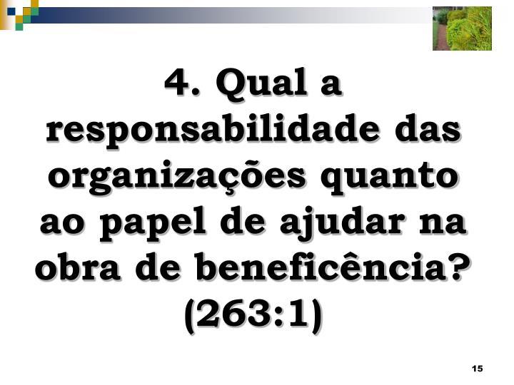 4. Qual a responsabilidade das organizações quanto ao papel de ajudar na