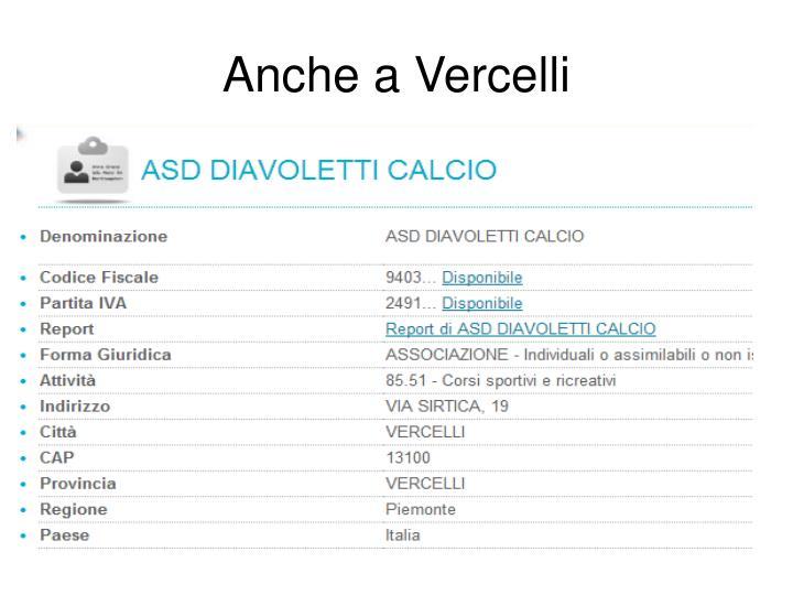 Anche a Vercelli