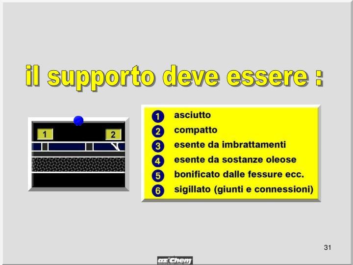 il supporto deve essere :