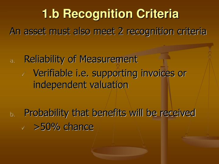 1.b Recognition Criteria