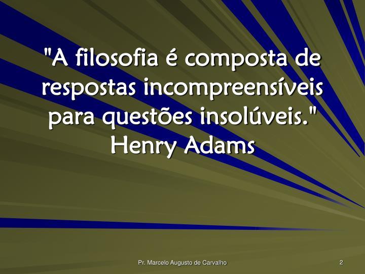 """""""A filosofia é composta de respostas incompreensíveis para questões insolúveis."""" Henry Adams"""