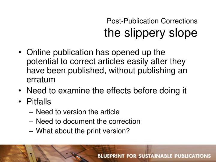 Post-Publication Corrections