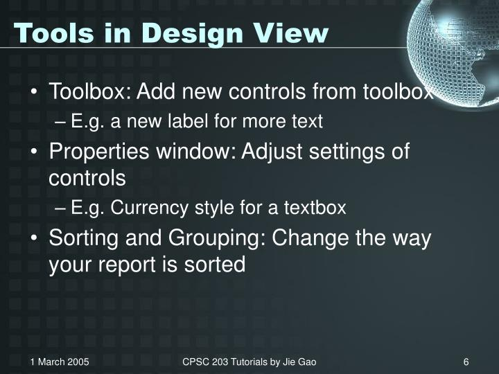 Tools in Design View