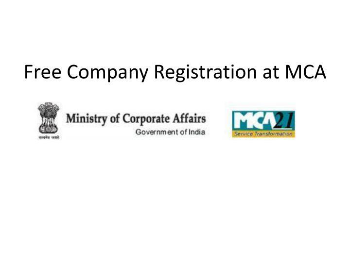 Free Company Registration at MCA