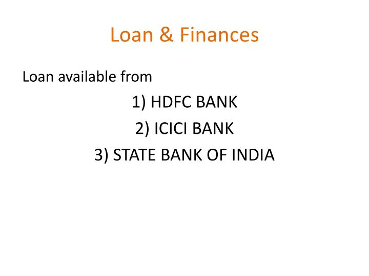 Loan & Finances