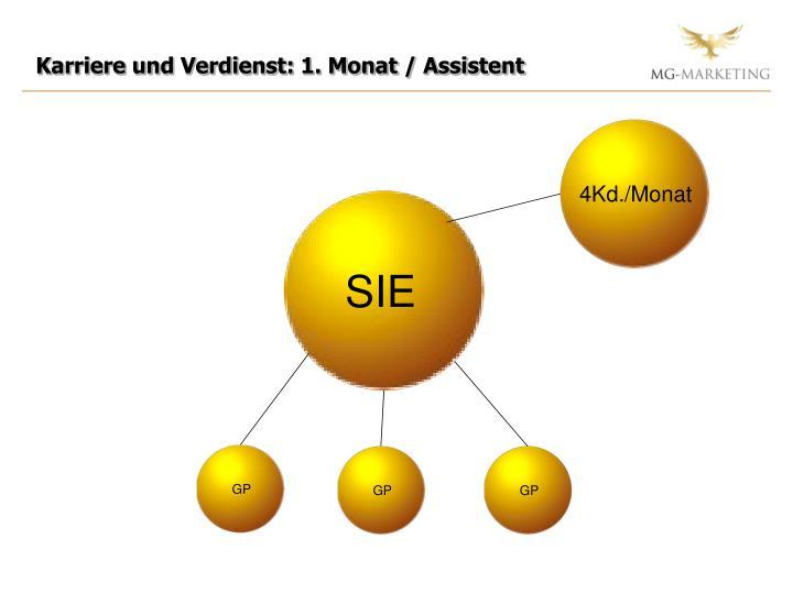 Karriere und Verdienst: 1. Monat / Assistent