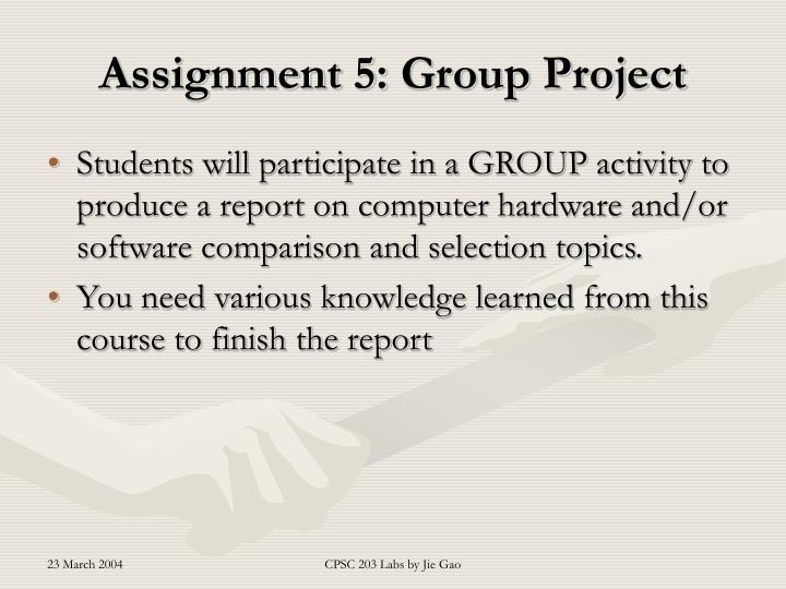 Assignment 5 group project