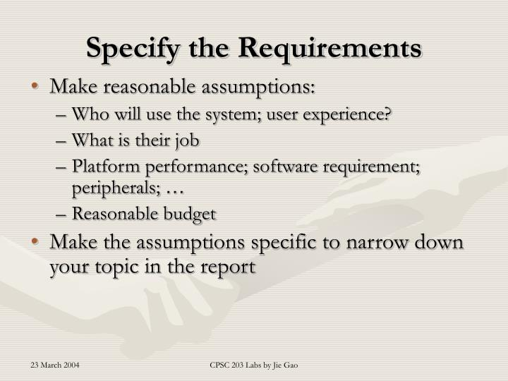 Specify the Requirements