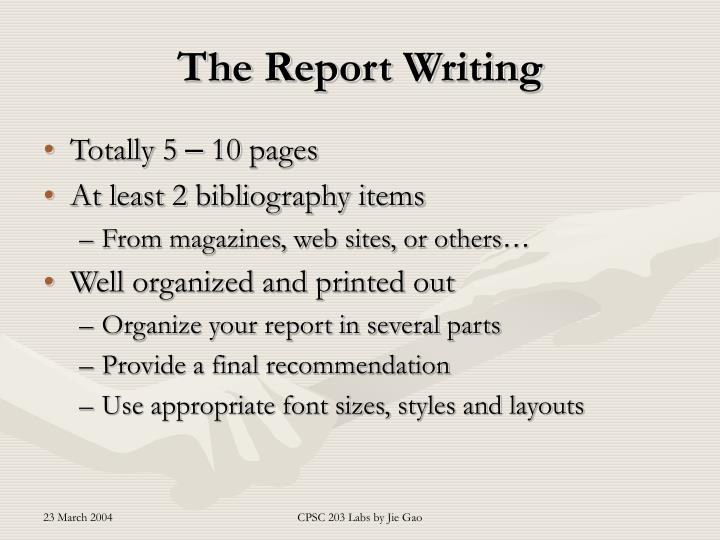 The Report Writing