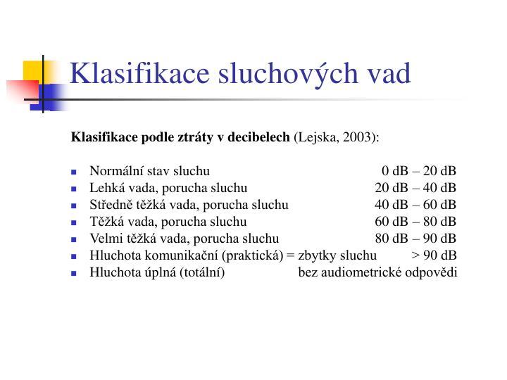 Klasifikace sluchových vad