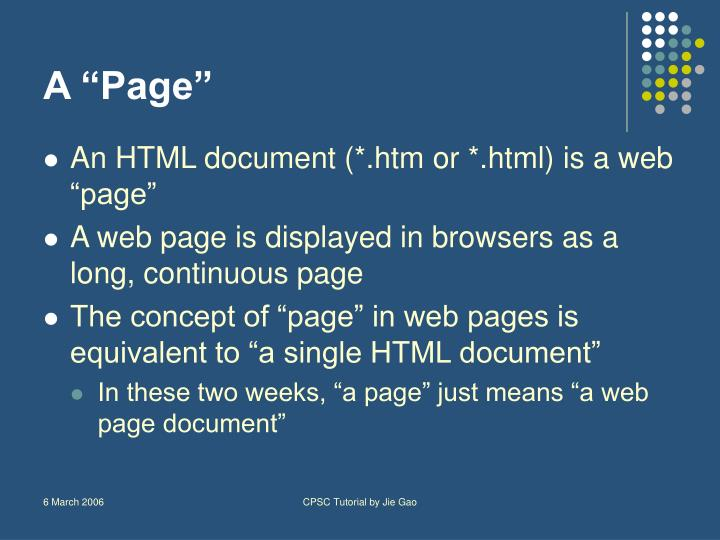 """A """"Page"""""""