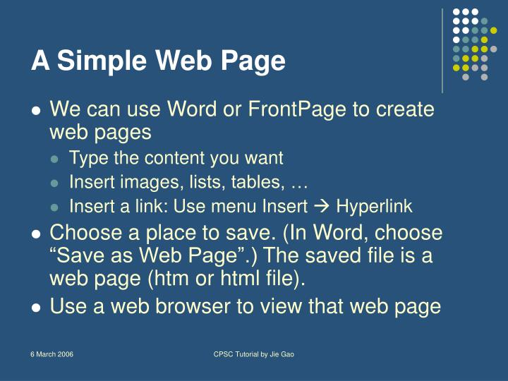 A Simple Web Page