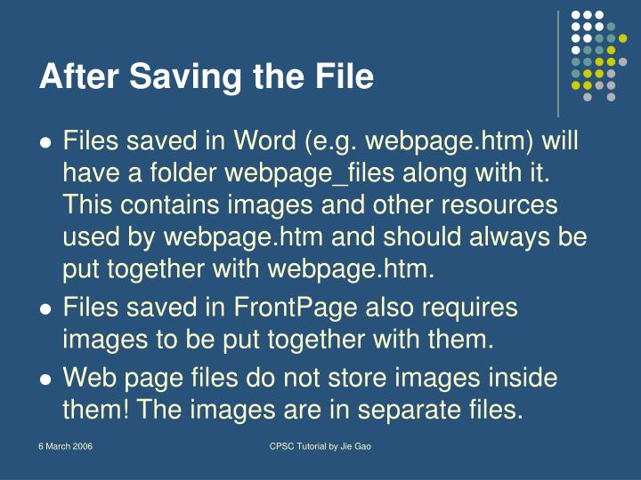 After Saving the File