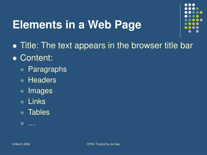 Elements in a Web Page