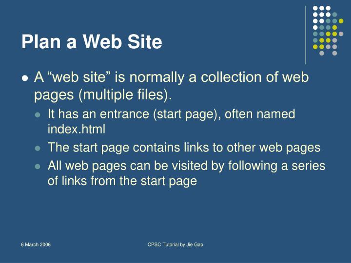 Plan a Web Site