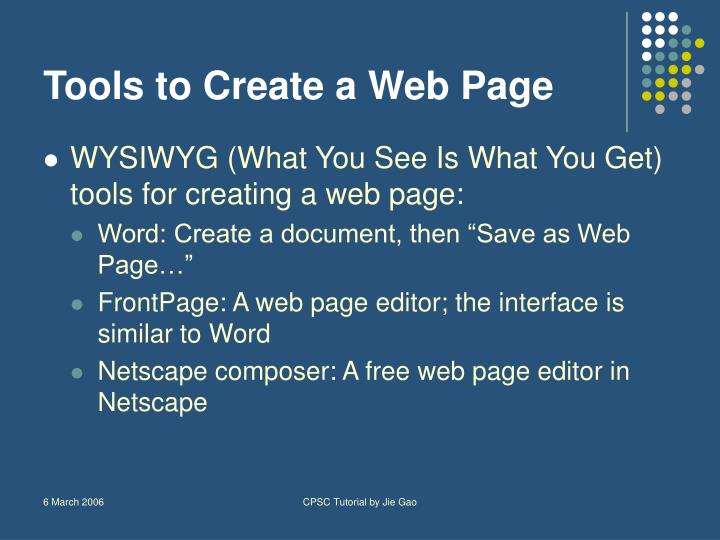 Tools to Create a Web Page