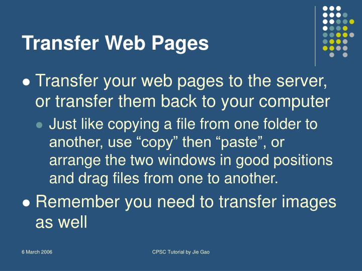 Transfer Web Pages