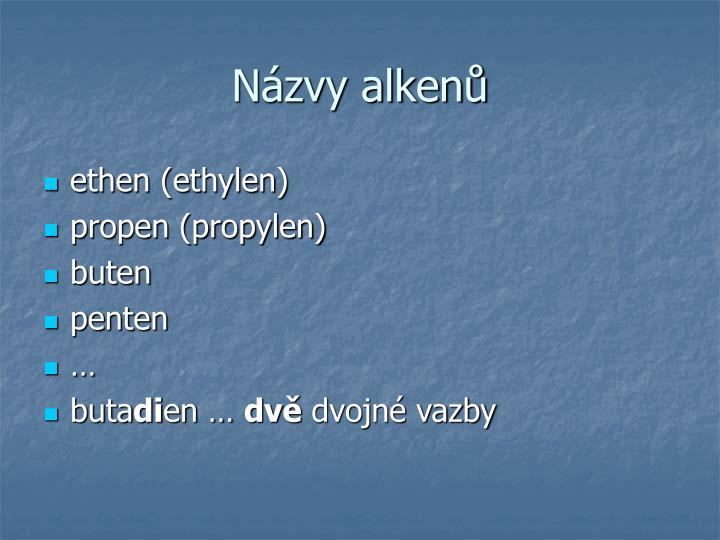 Názvy alkenů