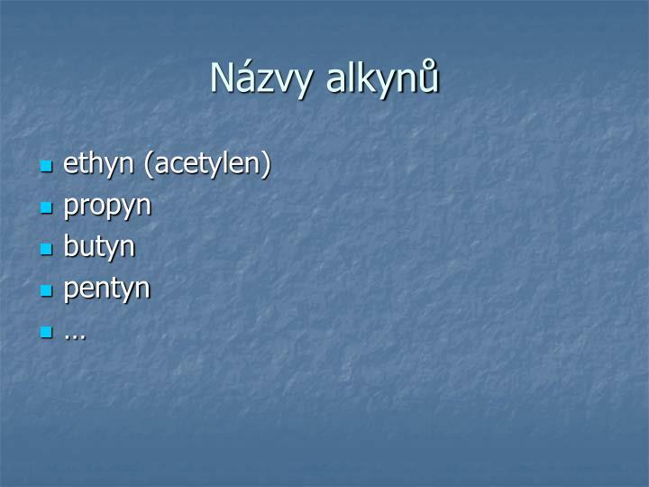 Názvy alkynů