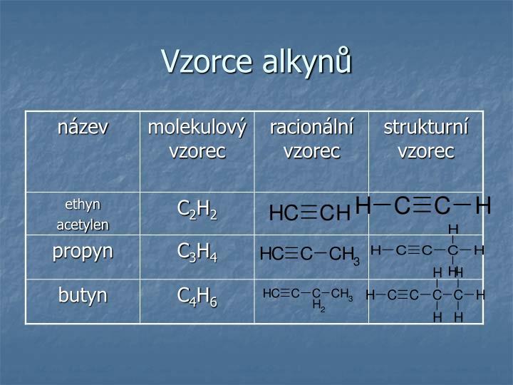 Vzorce alkynů