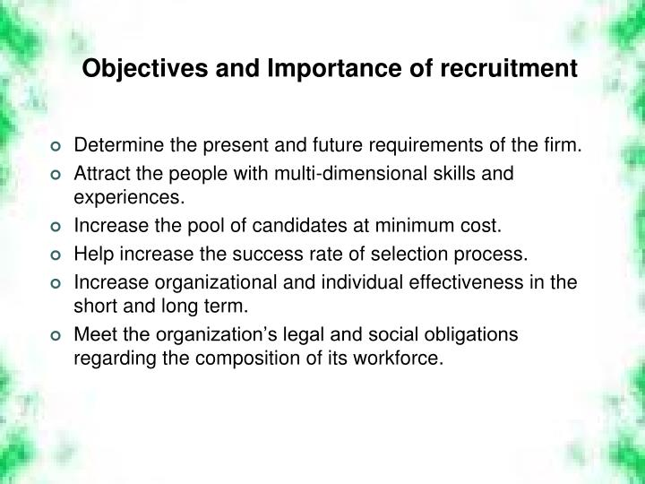Objectives and Importance of recruitment