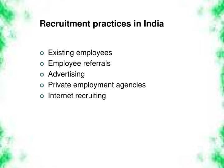 Recruitment practices in India