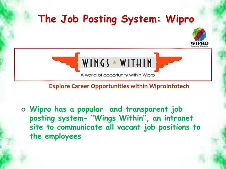 The Job Posting System: Wipro