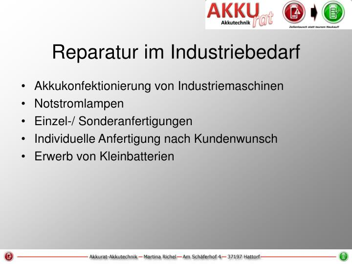 Reparatur im Industriebedarf