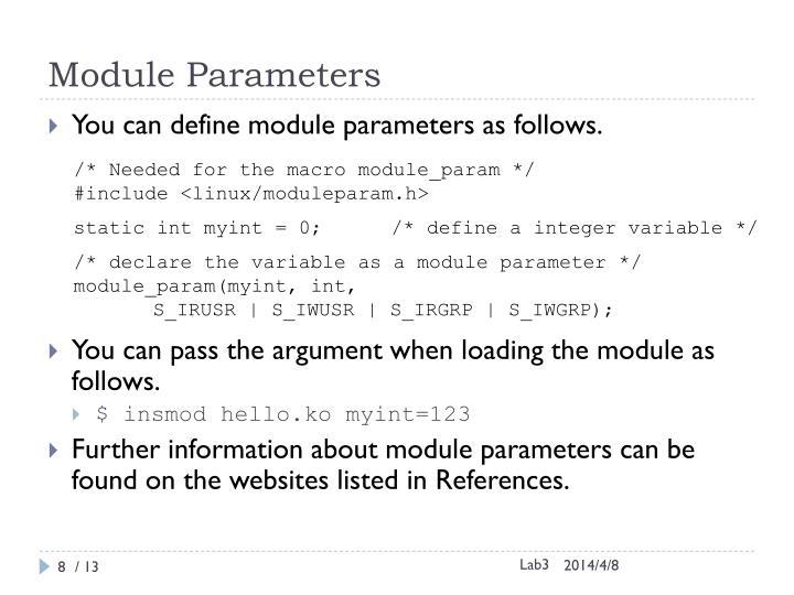 Module Parameters