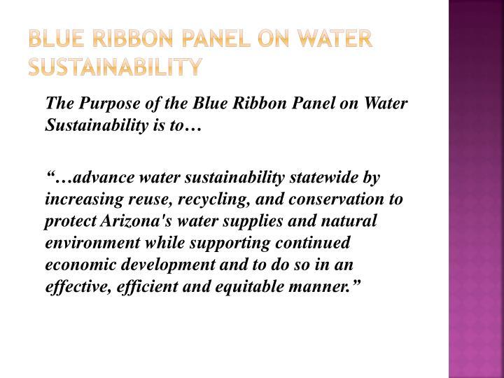Blue Ribbon Panel ON water Sustainability