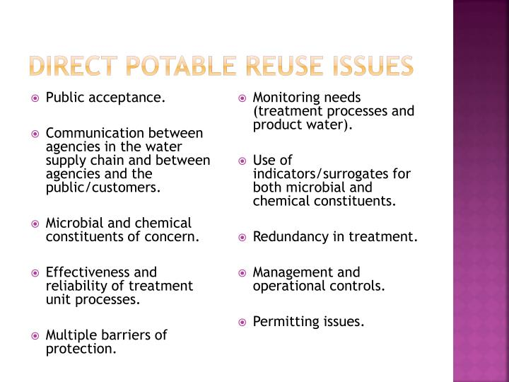 Direct Potable Reuse Issues