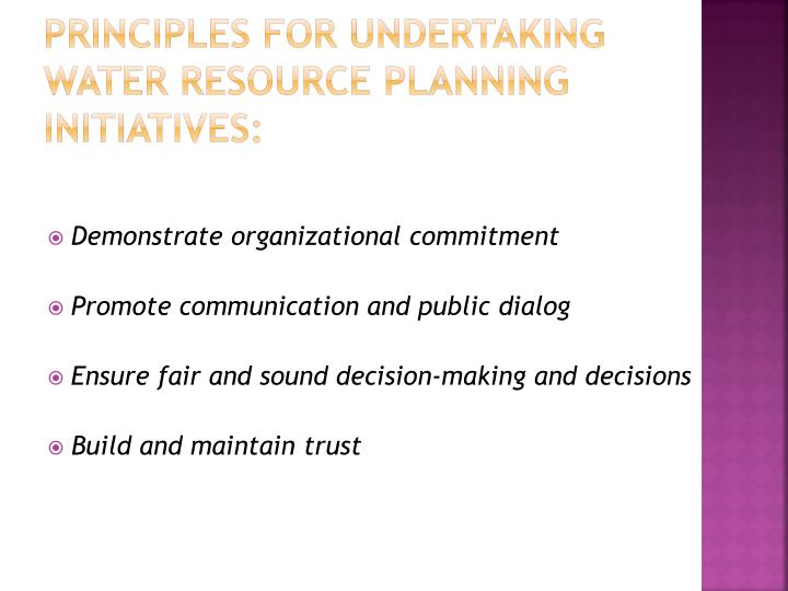 Principles for undertaking water resource planning initiatives: