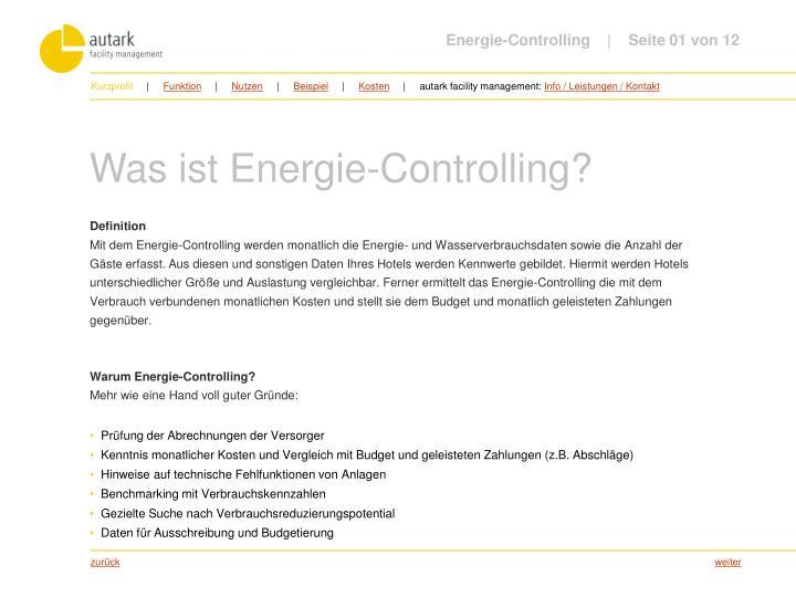 Energie-Controlling         Seite 01 von 12