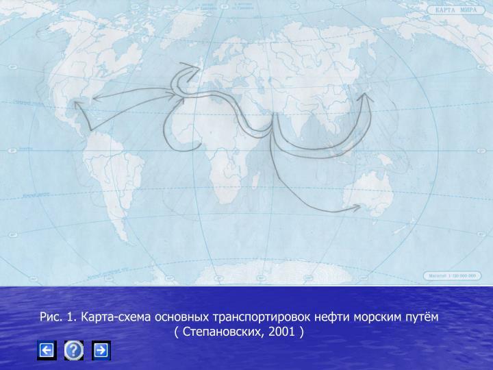 Рис. 1. Карта-схема основных транспортировок нефти морским путём