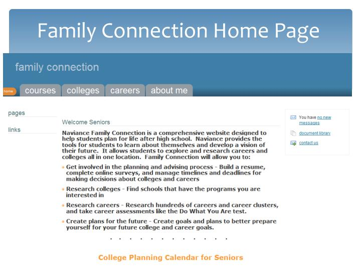 Family Connection Home Page