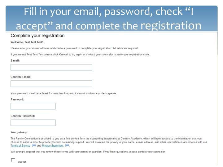 """Fill in your email, password, check """"I accept"""" and complete the"""
