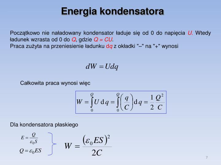 Energia kondensatora