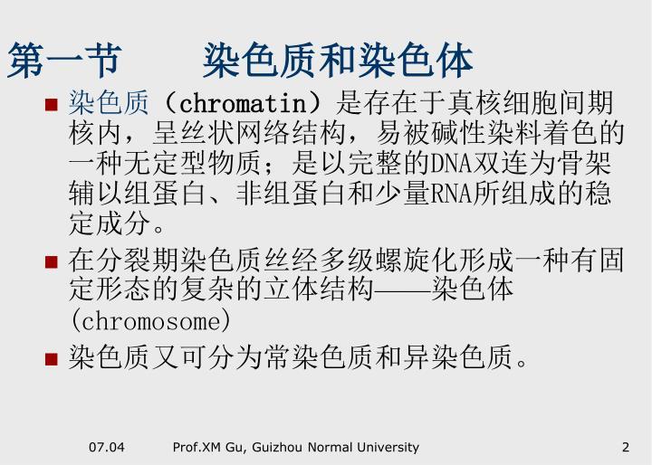 第一节    染色质和染色体