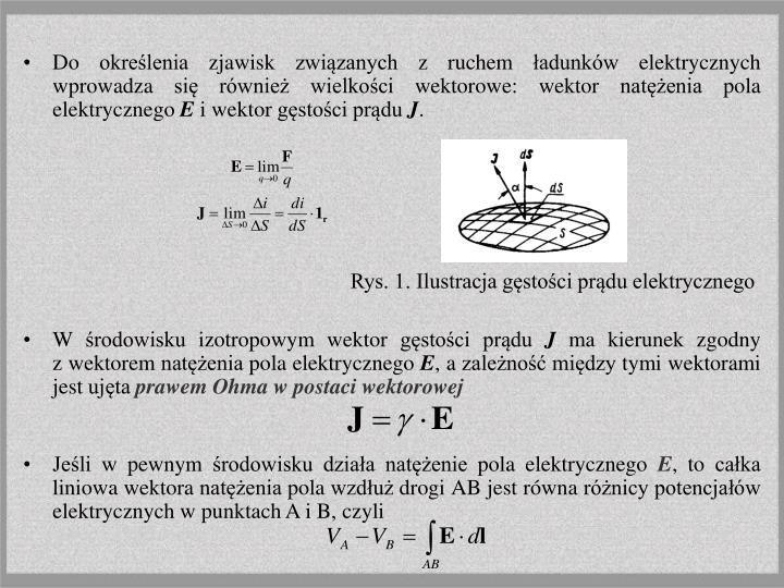 Do określenia zjawisk związanych z ruchem ładunków elektrycznych wprowadza się również wielkości wektorowe: wektor natężenia pola elektrycznego