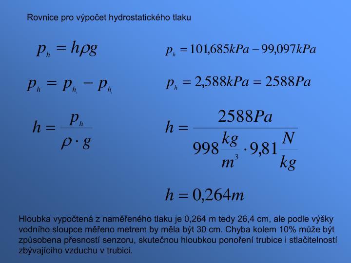 Rovnice pro výpočet hydrostatického tlaku