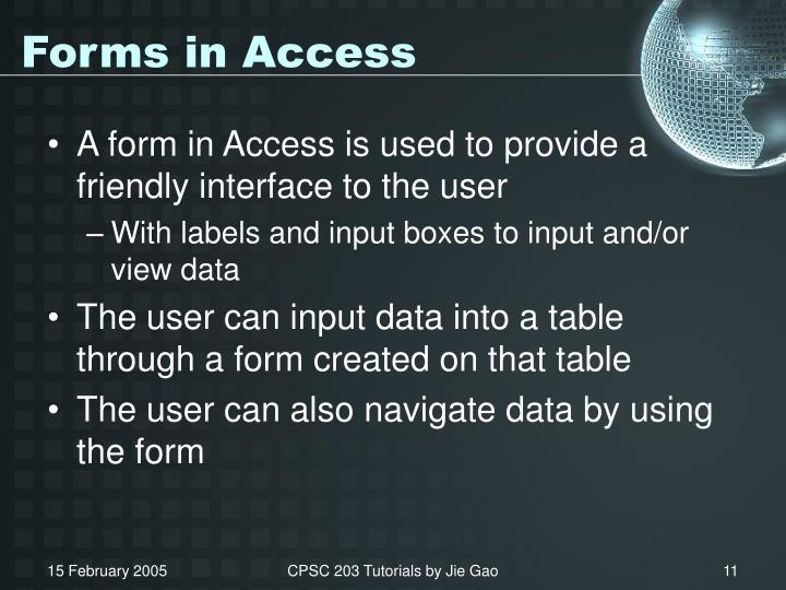 Forms in Access