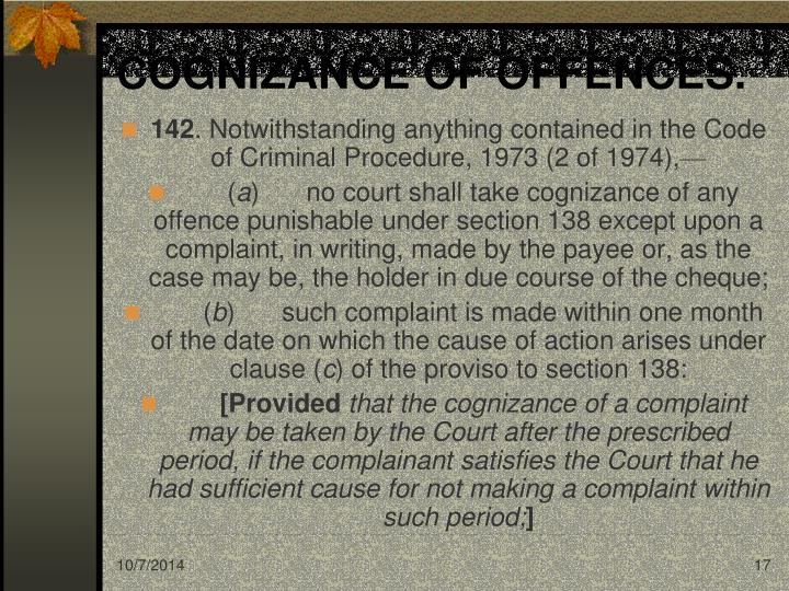 COGNIZANCE OF OFFENCES.
