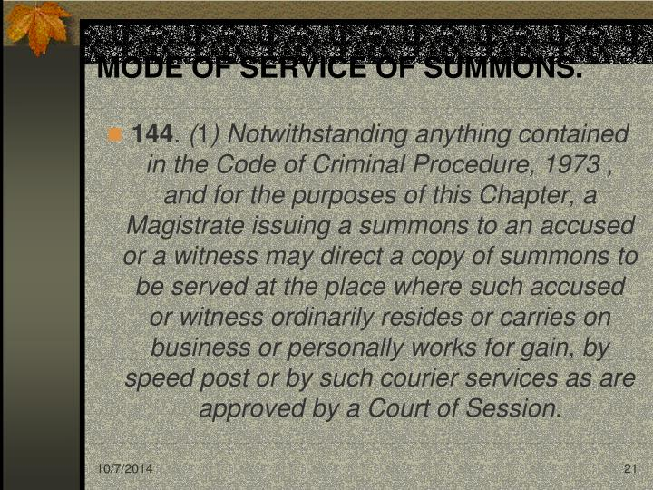MODE OF SERVICE OF SUMMONS.