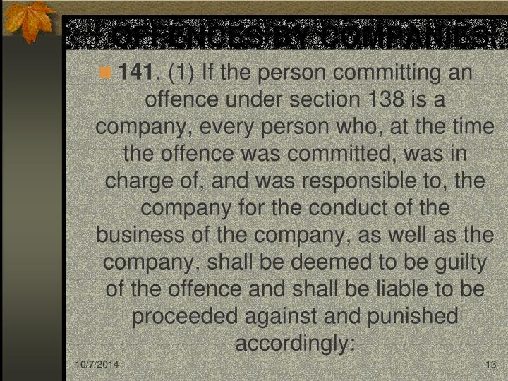 OFFENCES BY COMPANIES.